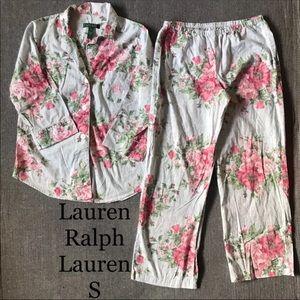 LRL Cotton Pajama set: pants & long sleeve top S